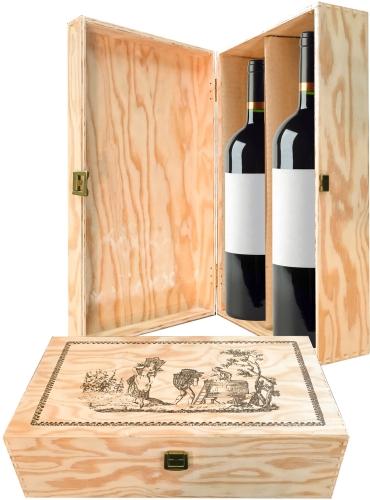 Wooden box for 2 bottles