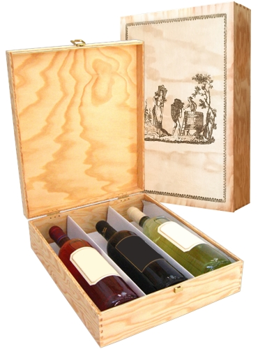 Wooden box for 3 bottles