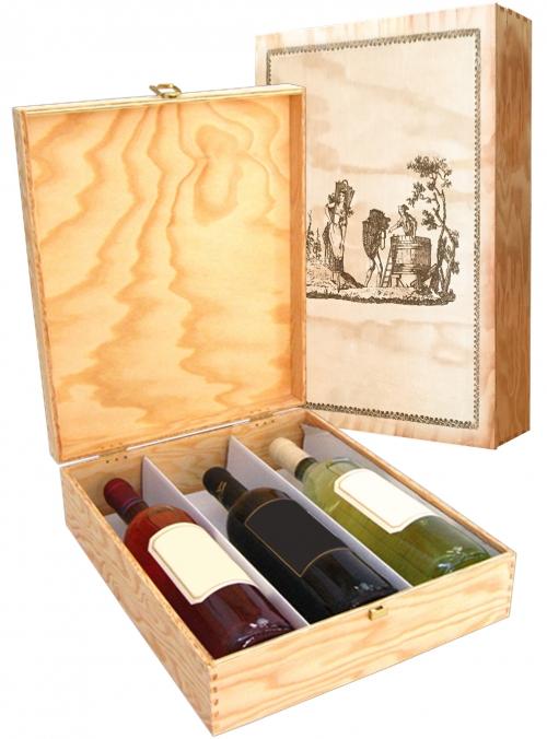Cassetta in legno per 3 bottiglie di vino