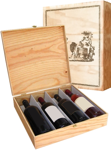 Wooden box for 4 bottles