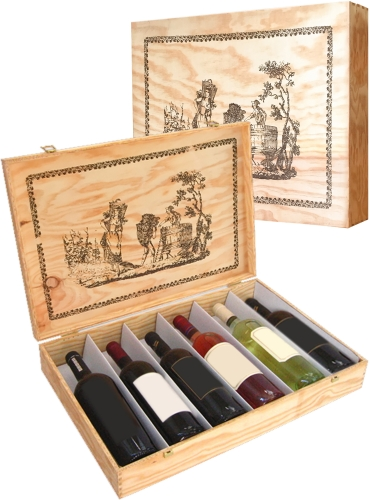 Wooden box for 6 bottles