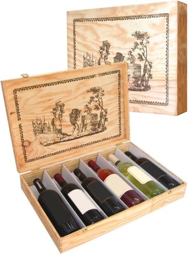 Wooden box for 6 bottles